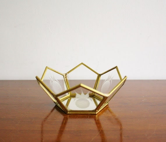 Vintage brass and glass dish