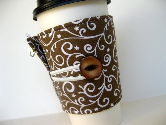 Adjustable Coffee Cozy - Swirls and Stars