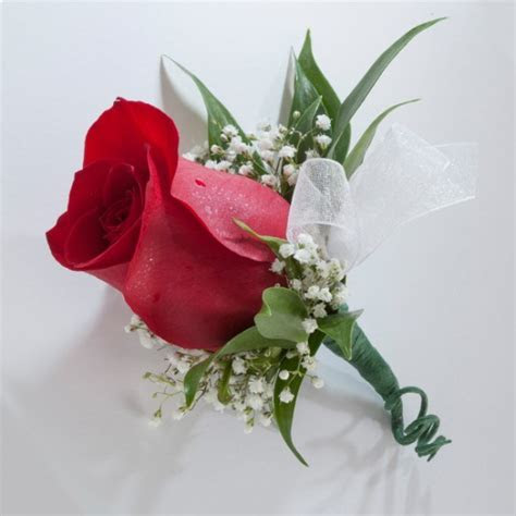 Single Rose Boutonniere   Martin's Specialty Store Order