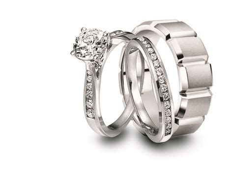 Engagement Ring and Wedding Band Set for Him and Her: Jeff