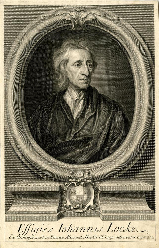 Portrait of John Locke, half-length to front, with head turned to look towards right; wearing a loose gown over shirt with high collar; in an oval frame decorated with Acanthus leaves on top, placed on a pedestal, with coat of arms in front; after Kneller.  1713  Engraving