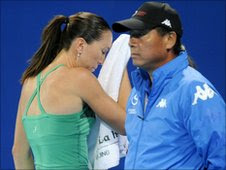 Jelena Jankovic on her way to defeat to Bojana Jovanovski in the China Open