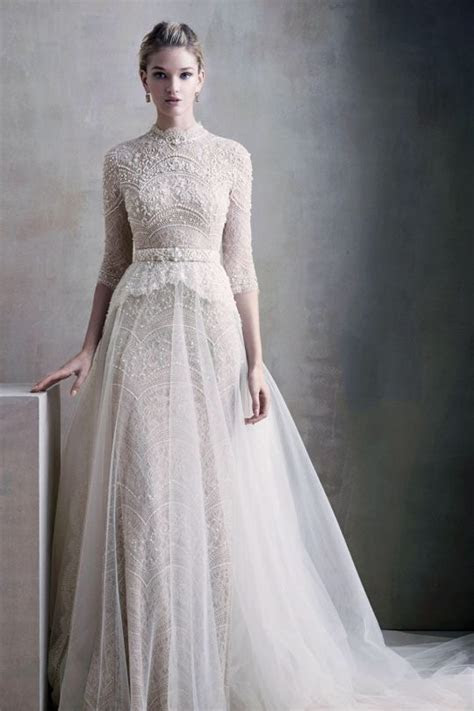 Picture Of a beautiful vintage lace wedding dress with a