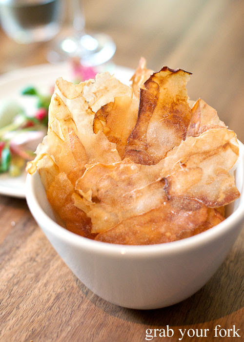 Salt and vinegar kipfler potato chips at Sixpenny Stanmore