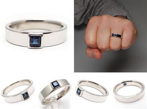 mens estate blue sapphire wedding band ring solid platinum