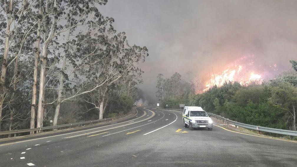 Incêndio na África do Sul (Foto: Wilson Luiz Araújo dos Santos - Arquivo pessoal)