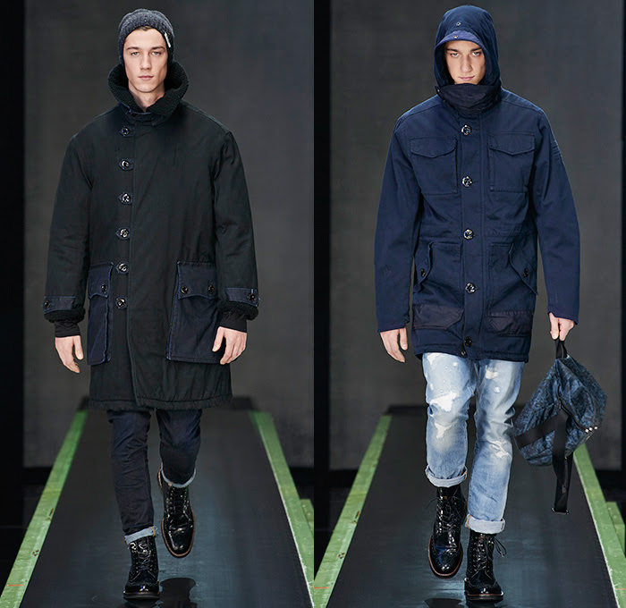 G-Star RAW Amsterdam 2015-2016 Fall Autumn Winter Mens Runway Catwalk Looks - Vintage Grunge Destroyed Denim Jeans Military Utility Cargo Pockets Outerwear Parka Coat Varsity Baseball Jacket Hoodie Boots Cargo Pockets Moto Motorcycle Biker Leather Emblems Patches Knee Panels Coated Suspenders Knit Scarf Plaid Blazer Vest Waistcoat Shirt Ribbed Sweater Jumper Beanie Knit Cap