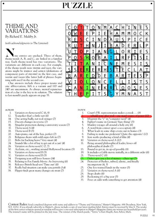 May 2015 | Theme and Variations | Harper's Cryptic puzzle solution