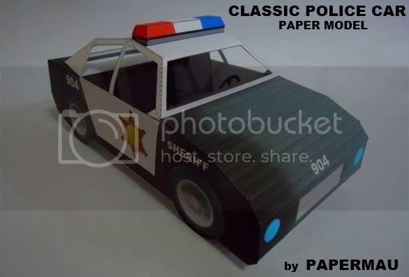 papermau classic police car paper model by papermau download now. Black Bedroom Furniture Sets. Home Design Ideas