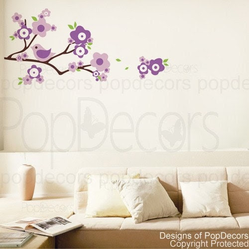 Lovely Branch and Birds - Wall Decals Stickers Murals Removable Vinyl Art for Home Decor