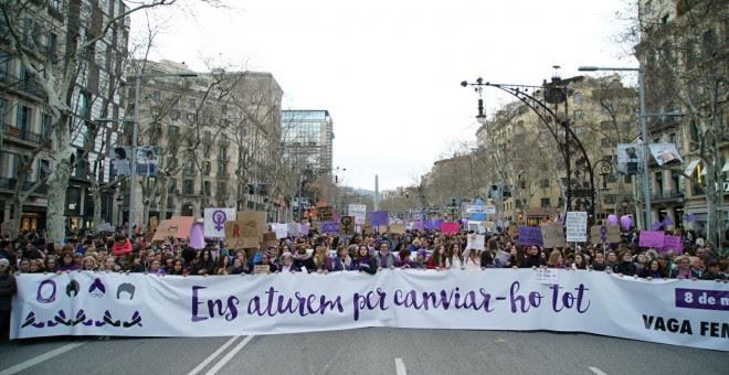 Cabecera de la manifestación en Barcelona. /JOEL KASHILA