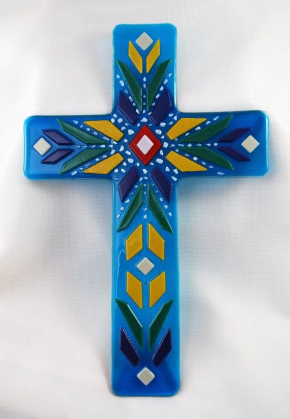 decorated cross in fused glass