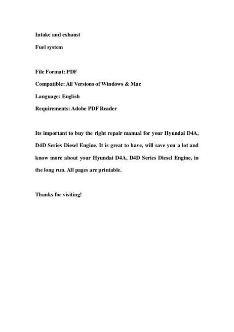Hyundai d4 a, d4d series diesel engine service repair