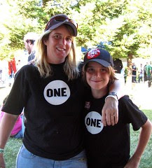 ONE volunteers Julie and her son Danny
