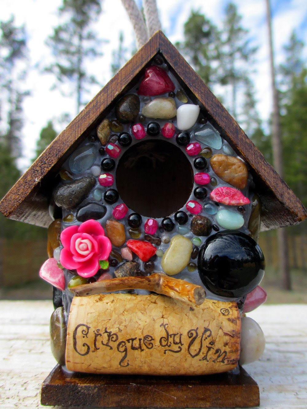 Whimsical Birdhouse Pink and Black Mosaic with Rose and Wine Cork