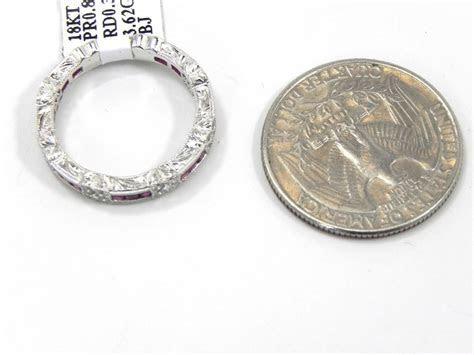 Ladies 18k White Gold Channel Set Rubies & Diamonds