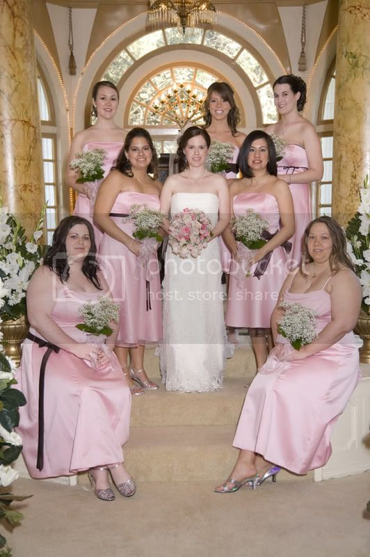 My girls were in light pink and the guys in brown tuxes