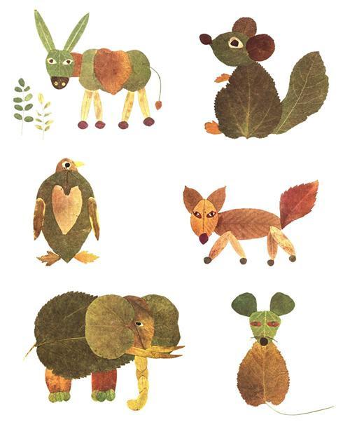 Arte con hojas1 Manualidades para niños: hojas de otoño transformadas en arte