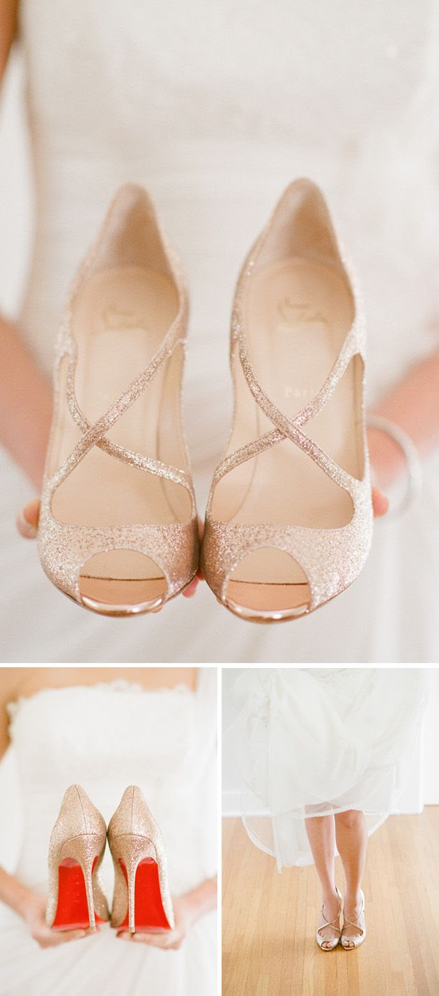 gold sparkly criss cross Louboutins- would love some sparkly shows when I get married