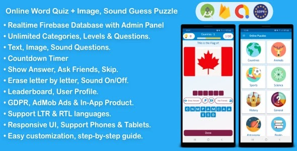 Download Free Online Word Quiz + Image Guess + Sound Guess Puzzle Game for Android Nulled