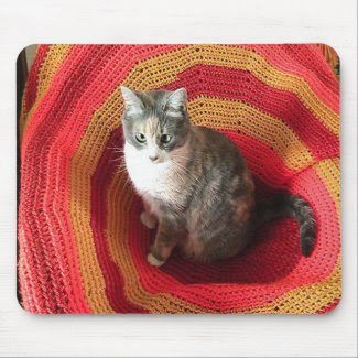 Pearl Cat on Afghan mousepad