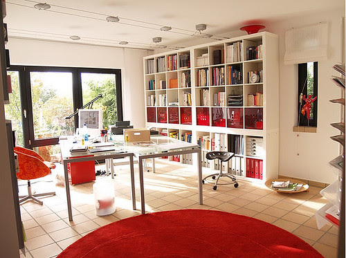 red office, interior design, fabulous, white, space, work, clean, modern home ideas