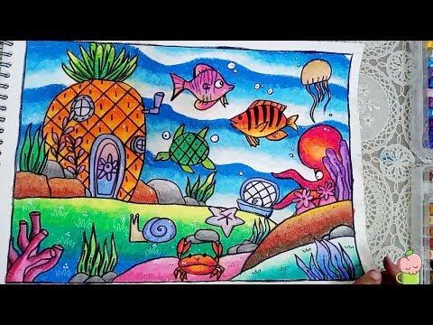 Cara Menggambar Dan Mewarnai Pemandangan Dasar Laut Gradasi Warna