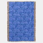 Floral Nature Photo Bright Blue Rose Abstract Throw