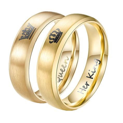 Personalized Her King & His Queen Gold Couple Rings