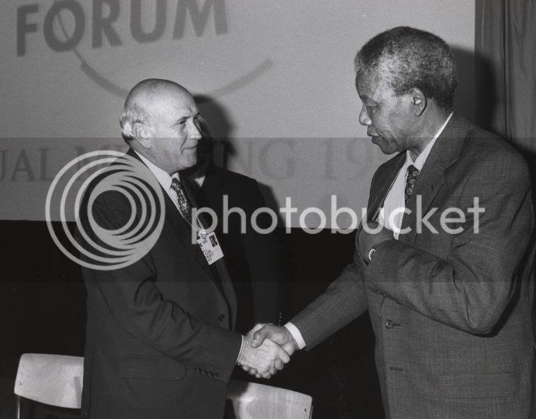 Frederik de Klerk with Nelson Mandela