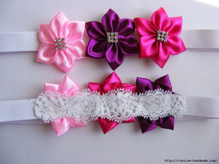 Headband hair with flowers of satin ribbons.  Master class (25) (700x525, 256Kb)