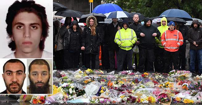 I tre attentatori di Londra: in alto Youssef Zaghba, sotto  il «capo» Khuram Butt e Rachid Redouane