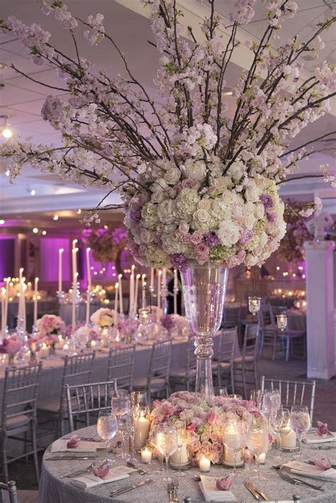 Tall, Ornate, Pink Cherry Blossom Centerpieces   beautiful