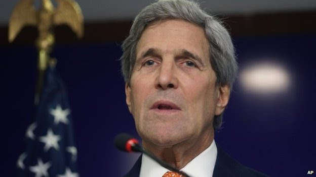 US Secretary of State John Kerry speaks at a press conference in Gandhinagar, India 12 January 2015