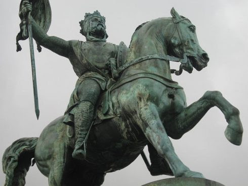 Godfrey of Bouillon, the leader of the First Crusade. He was elected King of Jerusalem by the Crusaders after the Holy City's capture in 1099
