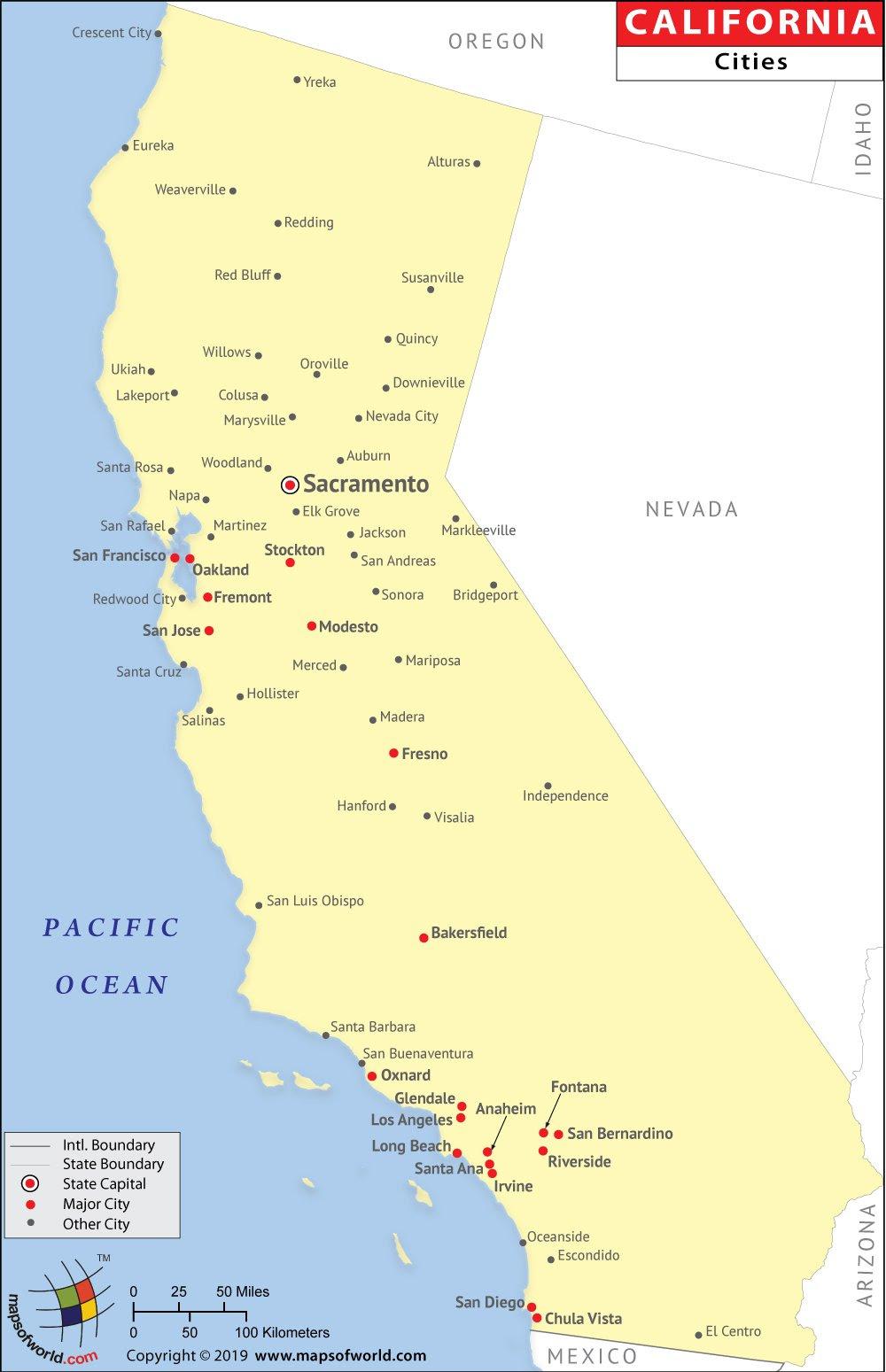 Map Of California Major Cities California Major Cities Map ~ COALIZAOUENF
