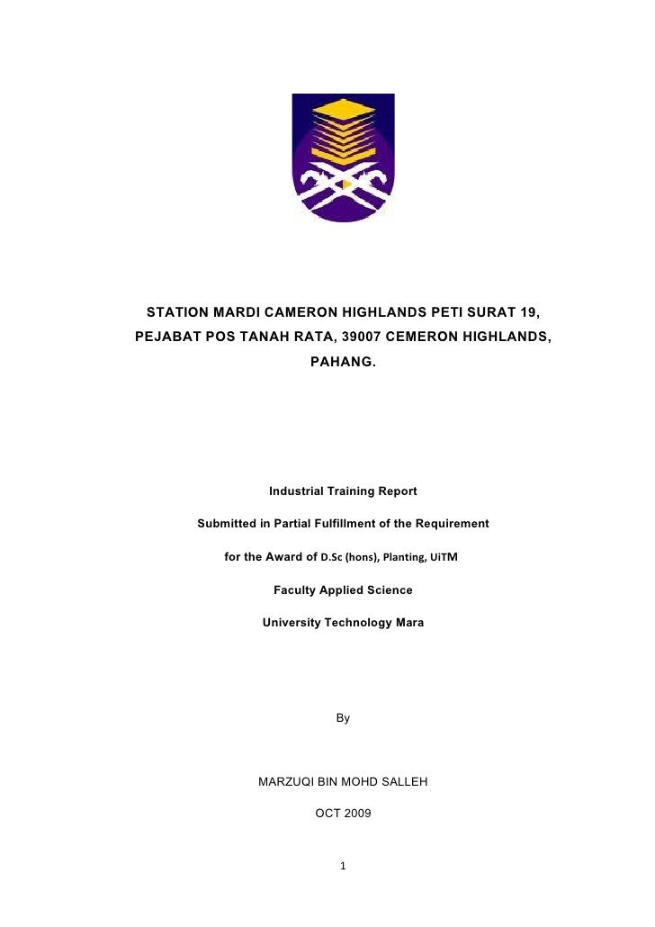contoh laporan latihan industri kejuruteraan awam