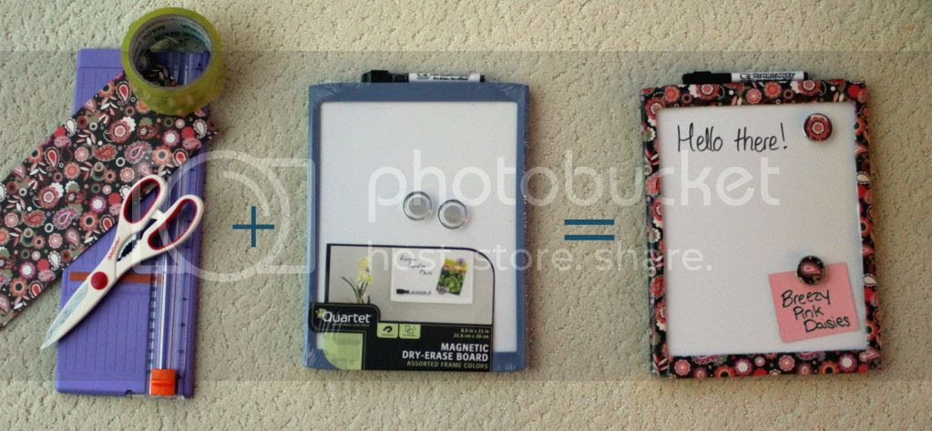 Dry erase board decorated with Scrapbook paper