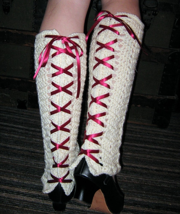 Crocheted Leg Warmers With Ribbon Lace Up - Ivory and Red