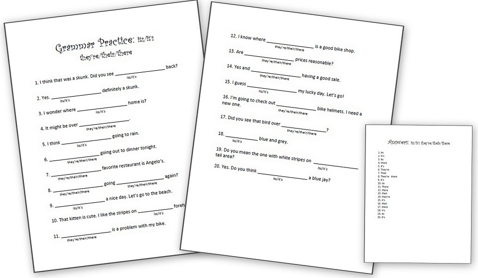 Grammar Worksheets It S Or Its They Re Their Or There