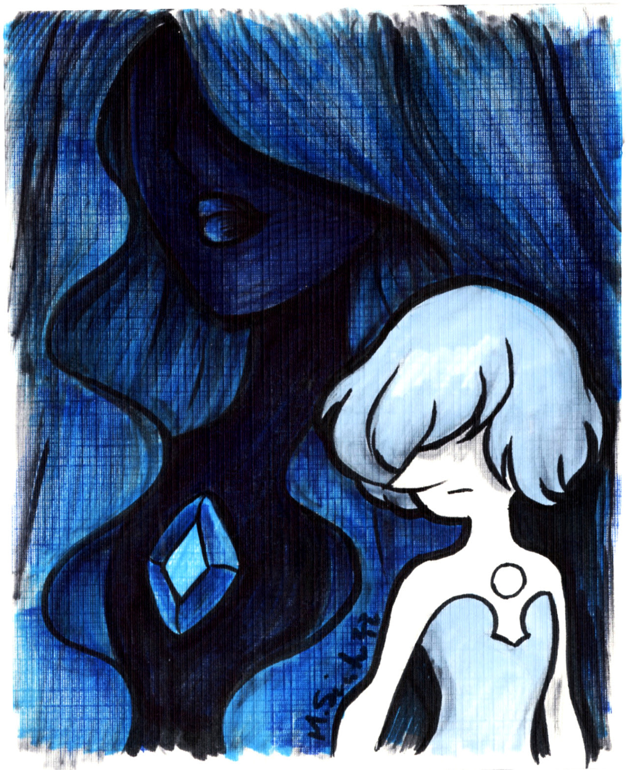Blue Diamond and Pearl ink sketch