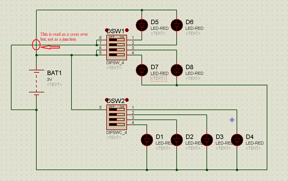 Circuit diagram of DIP switches Example