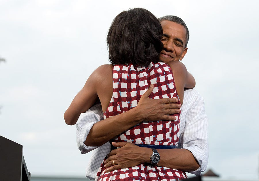 The Obamas made history with this August 2012 hug — this became the most tweeted photo of all time after Obama sent it out to his followers on election night.