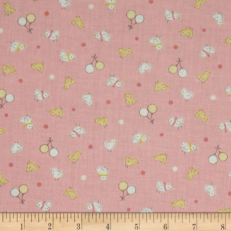 Baby Shower Tossed Chicks Pink - I'm not sure what these little chicks fabrics are for, but they are so dainty, have a vintage look to them and I just lurve them.