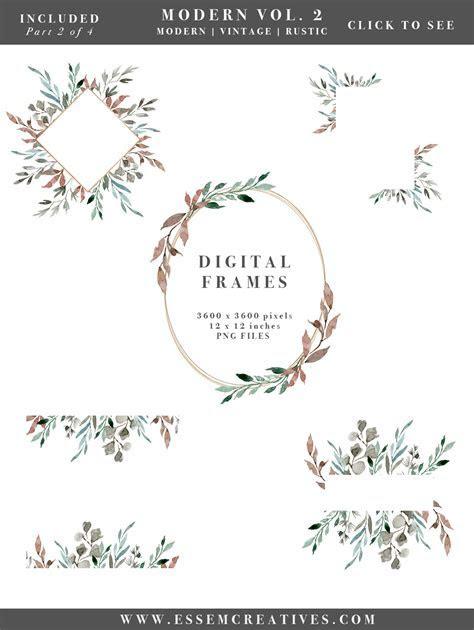 Watercolor Leaves Wreaths Clipart, DIY Watercolor Wedding