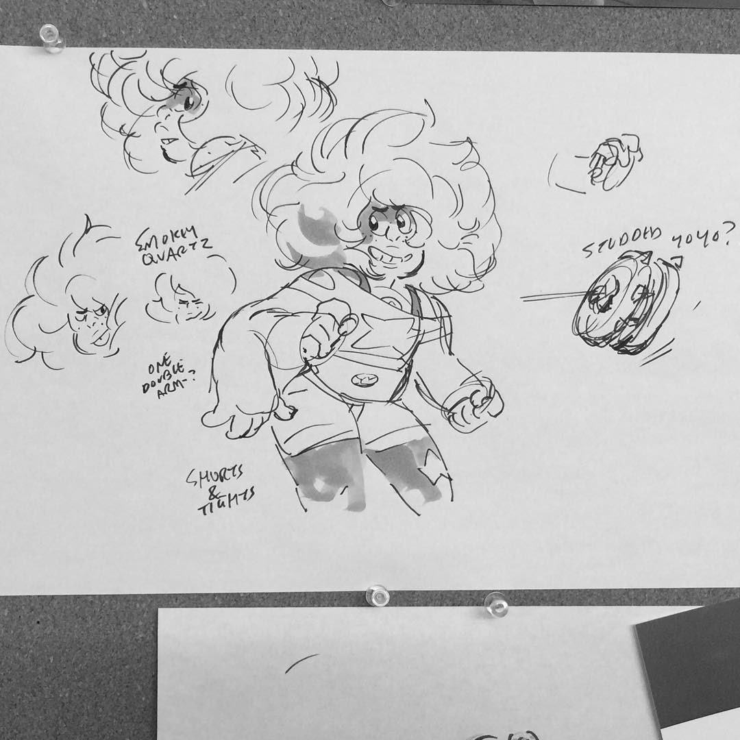 """galactic-twat: """" Earliest Smoky Quartz Concept from Rebecca's Instagram. Oh my god Smoky looks so much like Rose here?? Was this before they decided to make the Steven/Rose fusions different? """""""