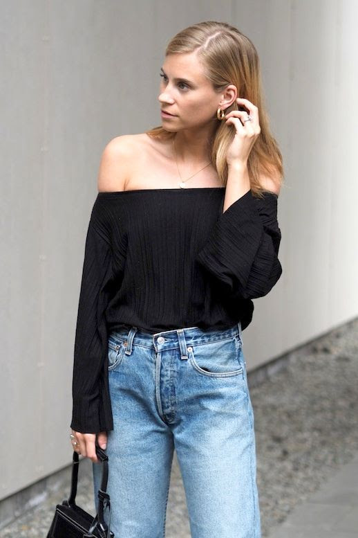 Le Fashion Blog Blogger Style Gold Hoop Earrings Black Off The Shoulder Blouse Vintage Denim Bag Via The Fashion Eaters