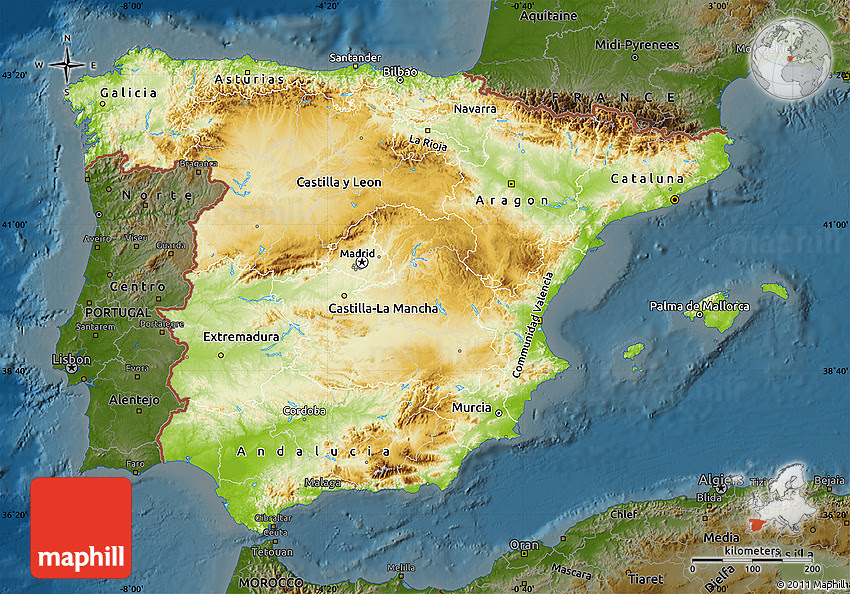 Topographical Map Of Spain.World Map Gray Spain Topographic Map