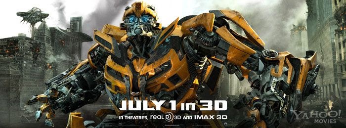 Bumblebee also looking bad-ass in a new banner for TRANSFORMERS: DARK OF THE MOON.