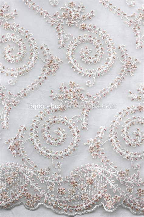 2016 Newest Design White Bead Pearl French Net Lace Fabric